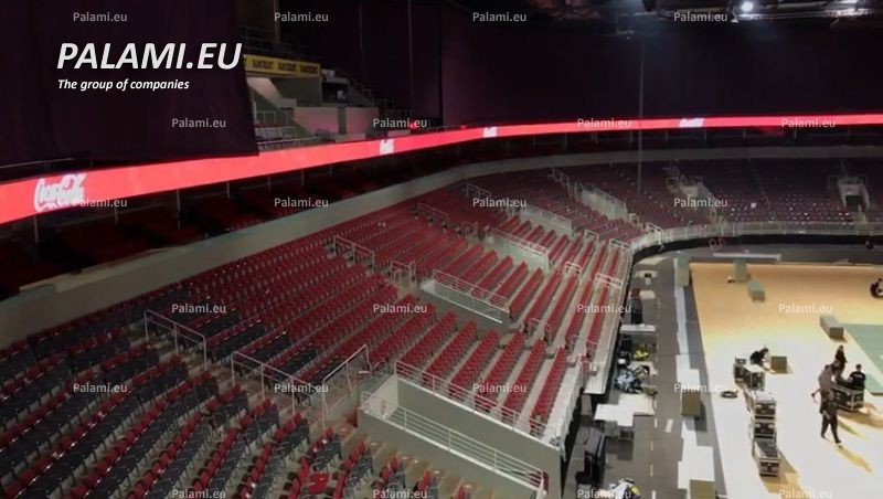 """Группой компаний ПАЛАМИ установлены светодиодные экраны и периметр в Многофункциональном спортивно-концертном комплексе """"Арена Рига""""."""