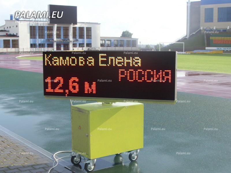 Комплект из пяти передвижных секторных легкоатлетических табло изготовлен для стадиона г.Гродно.
